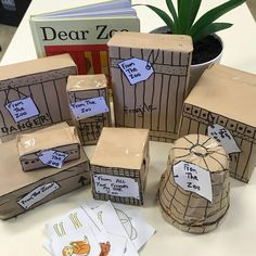 A quick matching game of the book Dear Zoo. We talked about size weight and shape and the possibility of which animal could be inside? Dear Zoo Activities, Eyfs Activities, Animal Activities, Book Activities, Preschool Activities, Preschool Books, Preschool Learning, Teaching, Dear Zoo Eyfs