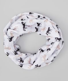 Another great find on #zulily! AWST INTERNATIONAL White & Brown Galloping Horses Infinity Scarf by AWST INTERNATIONAL #zulilyfinds