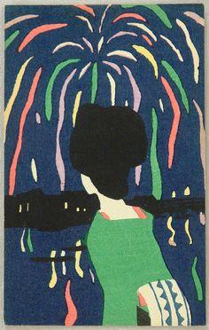 Takehisa Yumeji(竹久夢二 1884ー1934)「Fireworks over the Sumida river, Japan」(1910-20s)