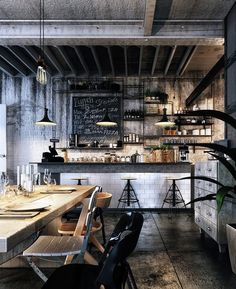 Loft cafe bar design on behance интерьер decoração estilo industrial, proje Ok Design, Design Food, Cafe Design, House Design, Design Ideas, Bar Designs, Modern Design, Industrial Living, Industrial House