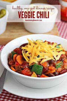 This Veggie Chili recipe is a one-pot dinner that's super loaded with healthy vegetables and fiber-rich beans. It's great for any occasion from game day to a family dinner.