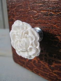 Flower Drawer Knob Peony in Snow White (RFK02)    Available with silver and brass hardware and lots of different colors!