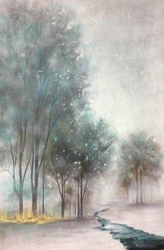 Follow The River 36x48 Winter Landscape, Decoration, Original Art, River, Wall Art, Painting, Collection, Frames, Decor