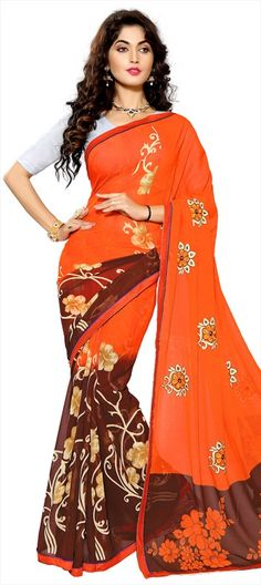 701910 Beige and Brown, Orange color family Embroidered Sarees, Party Wear Sarees, Printed Sarees in Faux Chiffon fabric with Lace, Machine Embroidery, Printed, Stone, Thread work with matching unstitched blouse.