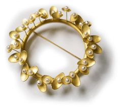 Kayo Saito - Sprout Brooch - 18k gold & pearls