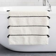 Add a splash of boho style with our Organic Tassel Stripe Bath Mat. Made of organic cotton, it's super absorbent and soft underfoot with fun tassels to dress up your bathroom. Teen Furniture, Small Furniture, Furniture Decor, Modern Furniture, Furniture Plans, Furniture Stores, Cheap Furniture, Bathroom Rugs, Bath Rugs