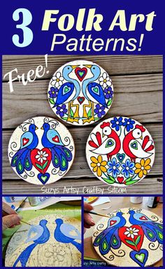 3 Free folk art patterns to paint! 3 Free folk art patterns based off of Pennsylvania Dutch art. A fun painting project! Painting Patterns, Art Patterns, Indian Folk Art, Fun Arts And Crafts, Paper Crafts, Diy Crafts, Art Template, E Design, Pattern Art