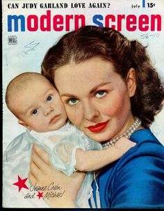 Jeanne Crain with baby on cover of modern screen 1949 Old Movies, Vintage Movies, Great Movies, Jeanne Crain, Old Movie Stars, Movie Magazine, Movie Covers, Female Stars, Children Images