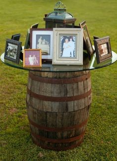 Whiskey Barrel Family Photo Display | Bob Smith and Melanie Thortis | TheKnot.com