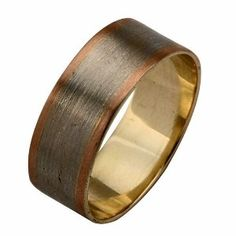 Mens 14k White Rose Gold And Silver Wedding Band...