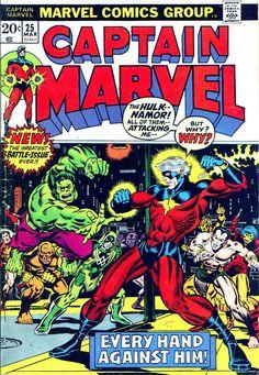Captain Marvel #25 marvel 1970s bronze age comic book cover art by Jim Starlin