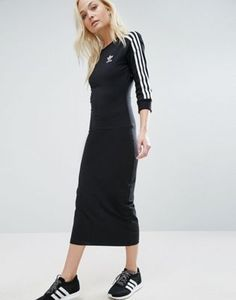 adidas Originals Black Three Stripe Midi Dress Addidas Dress a3c3060c8e3