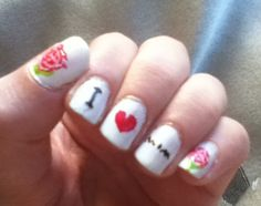"""""""I Heart Mom"""" rose Mother's Day nails any mom will love. check out www.ThePolishObsessed.com for more nail art ideas."""