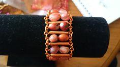Burnt orange agate bracelet with orange coloured wire bracelet www.facebook.com/KimsGlitteringGems