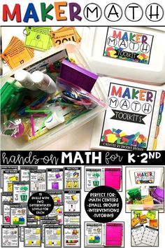 Maker Math toolkits provide your early childhood students with simple, hands-on applications of 15 key math skills. Ideal for math centers and small group guided math as students build and apply math concepts. Differentiated graphic organizers (LEVELS A and B) and leveled task cards with recording sheets | Kindergarten, First Grade, Second Grade