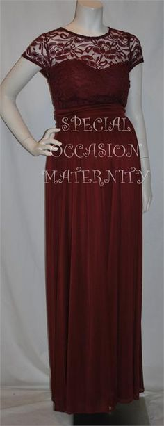 Wine Burgundy Lace Top Modest Maternity Dress.