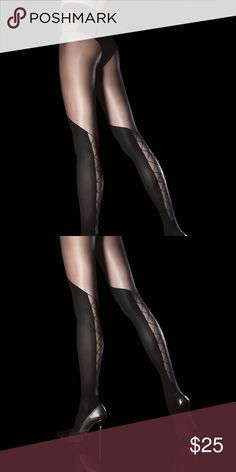 Darya 40 den Tights Sensual patterned tights with invisibly reinforced toe portion, comfortable flat seams and single-covered elastane yarn for improved durability.    Fibre content: 88% Polyamide, 12% Elastane. FiORE Accessories Hosiery & Socks