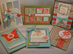 A card collection using the same colour schemes - I love these group pictures - it gives me the same feeling as looking at a flower garden!