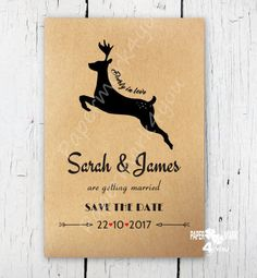Items similar to Kraft Rustic Save The Date - Deerly in Love_Custom Color on request _Deer Save the Date on Etsy Handmade Invitations, Custom Wedding Invitations, Rustic Save The Dates, Rustic Weddings, Color Change, Make Your Own, Deer, Stationery, Just For You