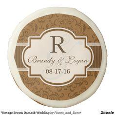 Vintage Brown Damask Wedding Sugar Cookie