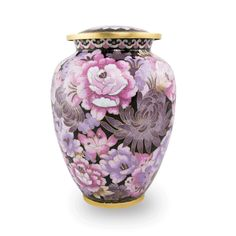 - Large sized cloisonne cremation urn with a motif of traditional Chinese flowers in shades of pink. - Features a threaded lid for a secure closure. - Cloisonne an ancient Chinese handcrafted art crea