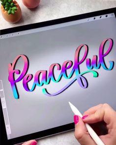 Mi potete dire di che app si tratta per favore? Creative Lettering, Lettering Styles, Brush Lettering, Hand Lettering Tutorial, Hand Lettering Alphabet, Digital Painting Tutorials, Digital Art Tutorial, Calligraphy Handwriting, Calligraphy Art