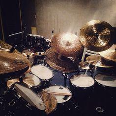 This beautiful Meinl Cymbals set up belongs to Ranjit Barot.