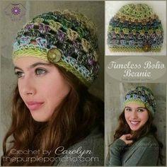 Timeless Boho Beanie is a Free Crochet Pattern on The Purple Poncho #crochet #fashion #style #grannystitch #beanie #thepurpleponcho