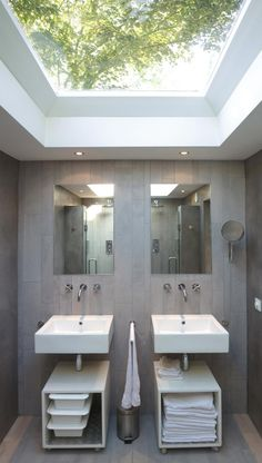 Architecture, Interesting Dutch God's Loft Story Project Featuring Loft Conversion Bathroom Interior Design With Glass Roof, White Sink, Vanity, And Wall Mirror: Striking Dutch House Idea Traditionally Designed with Brick Exterior Bathroom Interior, Modern Bathroom, Small Bathroom, Master Bathrooms, Small Sink, Serene Bathroom, Minimal Bathroom, Natural Bathroom, Luxury Bathrooms