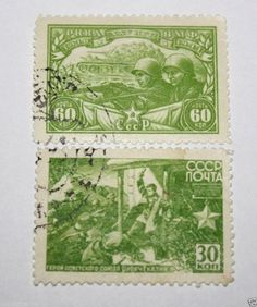 Russia USSR Stamps 1943 used Red Army Navy 25 YEARS set 2 pieces