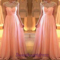 Princess pink chiffon round neck A-line prom dress, custom size ball gown, beaded evening dress for teens -> http://sweetheartdress.storenvy.com/products/13880823-princess-pink-beaded-round-neck-a-line-custom-size-prom-dress