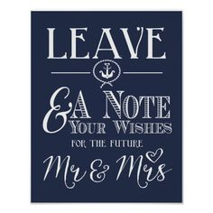 Nautical navy blue wedding Leave a note sign print