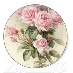 Vintage Victorian Romantic Roses Sticker ($4.95) ❤ liked on Polyvore
