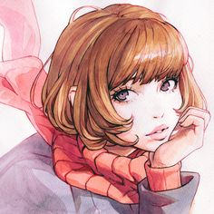 Anime picture original ilya kuvshinov single looking at viewer fringe simple background white background purple eyes ahoge parted lips lips shadow portrait hand on face traditional media watercolor (medium) drawing girl long sleeves scarf 442445 en Pen And Watercolor, Watercolor Illustration, Chibi Pokemon, Cartoon Drawings, Art Drawings, Manga Art, Anime Art, Shadow Portraits, Kuvshinov Ilya