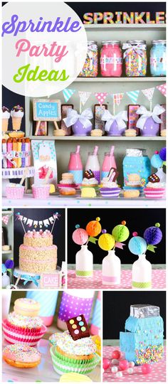 These sprinkles and sweet treats make a perfectly pretty party display! See more party ideas at CatchMyParty.com!