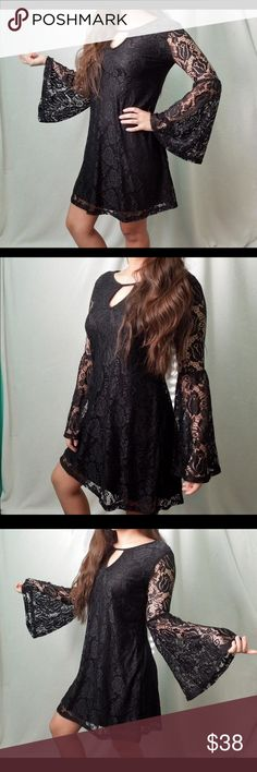 WitchyWoman Lace Dress Lace dress with see through and bell lace sleeves. Lined. Small peephole in front. Really loose like a shift dress. It's a petite medium or like a XS/Small Boutique Dresses
