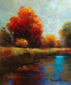 Original Oil Painting-20in x 24in Oil landscape painting on canvas by Kanayo Ede. Farm Brook