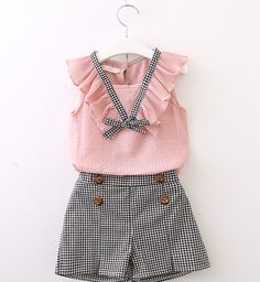 Girls Clothing Sets 2018 New Style Summer Children Clothes Cute Plaid Lace + White Bow Short Pants Kids Clothes Sets Toddler Girl Outfits, Baby Outfits, Little Girl Dresses, Toddler Girl Clothing, Kid Dresses, Newborn Clothing, Tween Clothing, Kids Outfits Girls, Dress Outfits