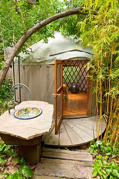 California Modern Backyard Yurt I'd love to do something like this :) dreams can come true......