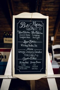 This Is A Custom Hand Lettered Hand Made Chalkboard Sign For A Bar Menu At A