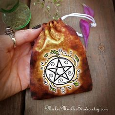 Drawstring Bag for DIY Charm Bag, Swirling Leaves Pentacle, Mojo Bag, Spell Bag, Medicine Bag, Brigids Cross Symbol