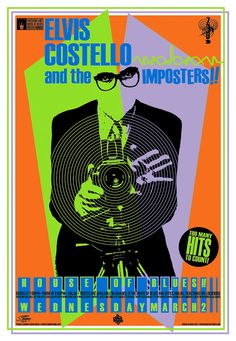 """Elvis Costello and the Imposters • 3/2/05 House of Blues, Orlando, Fl • 22"""" x 32"""" five-color silkscreen. ©2005 Greg Stainboy Reinel"""
