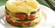 Milhojas de calabacín y tomate con queso #recetas #nestlecocina