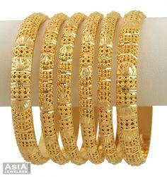 22Kt Indian Baby Gold | Indian Gold Bangle Set (6 Pcs) - AjBa53554 - US$ 5,328 - 22Kt Gold ...