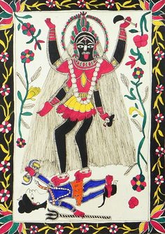 Kali (Madhubani Folk Art on Paper - Unframed))
