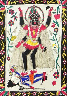 Kali (Madhubani Folk Art on Paper - Unframed))