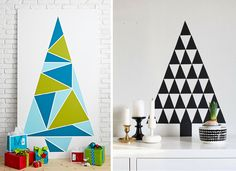 Árvores como mosaico tem um toque minimalista e artístico. Você pode recortar papel cartolina em pequenos formatos triangulares e depois colar com fita adesiva na parede formando uma árvore ou pintar uma chapa de mdf, utilizando fita para modular os formatos triangulares