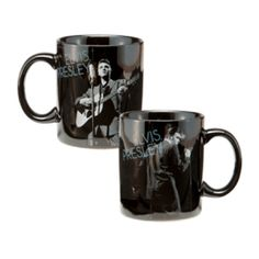 Elvis Presley Wertheimer 12 oz. Ceramic Mug - Have an even better cup of joe in this Elvis Presley 12 oz. Double Wall Ceramic Travel Mug featuring a stunning black-and-white portrait of Elvis Presley from the famed Wertheimer collection.