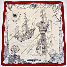 Vintage Hermes, scarf, 1961  |  Beautiful illustration. Looks like something out of a Jules Verne novel.