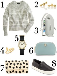 Pretty littlethings that caught my eye this afternoon... 1. J.Crew Mohair Fuzzy-Stripe Sweater - great texture, love their fun take on the classic stripe... // 2.Arrow Stud Earrings - Mark & ...